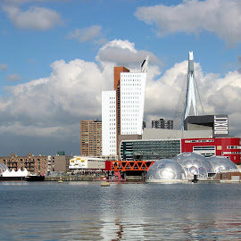 Rotterdam by Nico Kranenburg - City,  Street & Park  Skylines ( cloudy sky, city view, rotterdam, harbour, netherlands )
