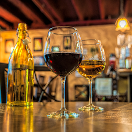 Happy Hour  by Kimberly Sheppard - Food & Drink Alcohol & Drinks ( wine, red wine, white wine, table, winery )