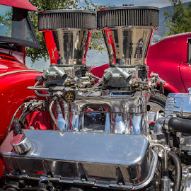 Red Rocket Power by Ron Mullins - Transportation Automobiles ( engine, chrome, car show, ford, modified )