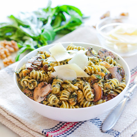 Chunky Walnut Pesto Pasta with Sauteed Baby Portobello Mushrooms