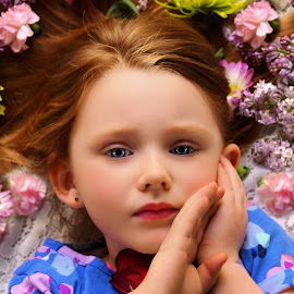 So Many Flowers In Her Hair by Cheryl Korotky - Babies & Children Child Portraits