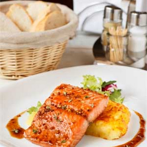 Salmon in Honey-Mustard Sauce with Rosti