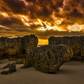 Three Rock Sunset by Keith Walmsley - Landscapes Sunsets & Sunrises ( clouds, nature, sunset, landscape, natural, rocks )