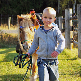 Friends by Giselle Pierce - Babies & Children Children Candids ( child, horse, friendship, boy, kid )