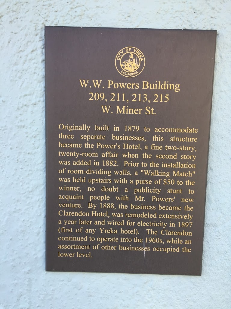 W.W. Powers Building 209, 211, 213, 215 W. Miner St. Originally built in 1879 to accommodate three separate businesses, this structure became the Power's Hotel, a fine two-story, twenty-room affair ...