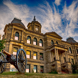 Harrison County Courthouse by Jackie Nix - Buildings & Architecture Public & Historical ( clouds, cadiz, civil war, appalachia, stone, tourism, travel, architecture, high dynamic range, historic, cannon, history, americana, landmark, harrison county courthouse, ohio, iconic, arches, town square )