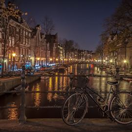 Charming city! by Jesus Giraldo - City,  Street & Park  Night ( water, texture, colors, boats, street, reflections, amsterdam, beauty, city, lights, urban, vibrations, bycicle, buildings, night, channel,  )