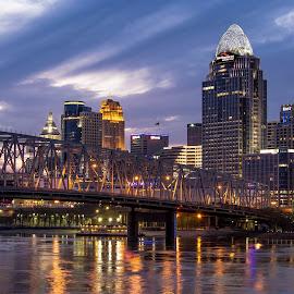 Cincinnati  by Shaun Davidson - City,  Street & Park  Skylines ( skyline, bridge, cincinnati )
