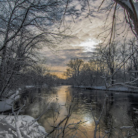 RiverBend by Bob White - Landscapes Sunsets & Sunrises ( river winter snow sunset glow love sun water )