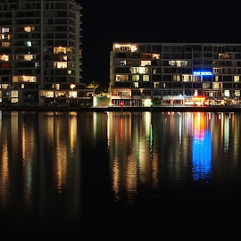 Reflections by Vera Thyssen - City,  Street & Park  Night ( lights, reflections, solitude, darkness, colours,  )