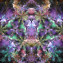 Double Devil Flowers by Peggi Wolfe - Illustration Abstract & Patterns ( abstract, wolfepaw, gift, unique, bright, illustration, bloom, fun, double, devil, digital, blossom, print, décor, pattern, color, unusual, fractal, floral, flower )