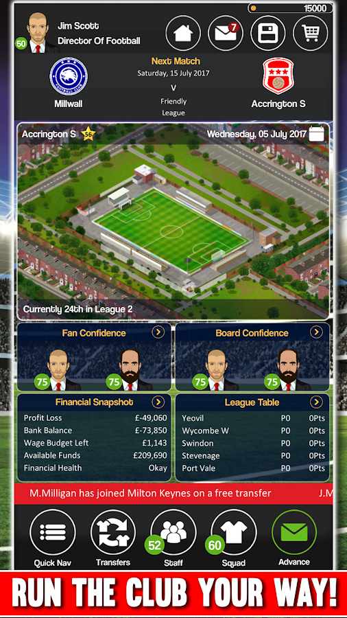 Club Soccer Director - Soccer Club Manager Sim Screenshot 4