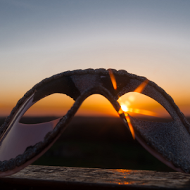 Eye mask in the sunset by Denny Gruner - Artistic Objects Clothing & Accessories ( nobody, reflection, colorful, line, mask, beauty, yellow, landscape, sun, sky, nature, stratosphere, dark, weather, sunshine, light, sunbeam, shiny, abstract, orange, carnival, art, beautiful, horizon, accessories, color, magical, sunset, background, outdoors, sundown, scene, air, view, eye mask )
