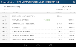 Screenshot of FCCU of ND Mobile Banking