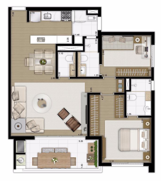Planta Opção - 90 m²