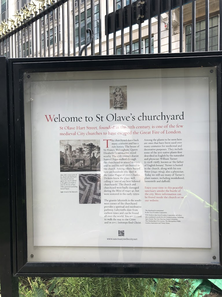 Welcome to St Olave's churchyardSt Olave Hart Street, founded in the 11th century, is one of the few medieval City churches to have escaped the Great Fire of London.The churchyard dates back many ...