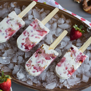 Strawberry Pretzel Popsicles