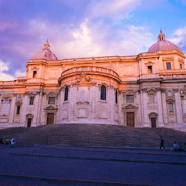 Rome, Basilica Papale di Santa Maria Maggiore by Photoxor AU - Buildings & Architecture Places of Worship ( kirche, basilica papale di santa maria maggiore, church, rome, sunset, basilica )