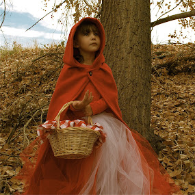 by Lori Lei Herr - Babies & Children Child Portraits ( fairy tale, children, hazel eyes, brown hair, leaves, halloween, child, story, little red riding hood, girl, red, autumn, fall, basket, trees, costume )