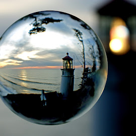 Heceta Head In The Bubble by Mike Burdic - Artistic Objects Glass ( lighthouses, sunsets, seascapes, artistic objects )