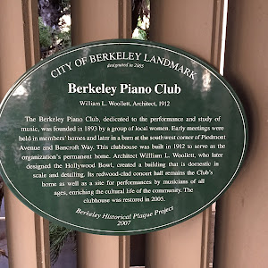 CITY OF BERKELEY LANDMARK designated in 2005 Berkeley Piano Club William L. Woollett, Architect, 1912 The Berkeley Piano Club, dedicated to the performance and study of music, was founded in 1893 by ...