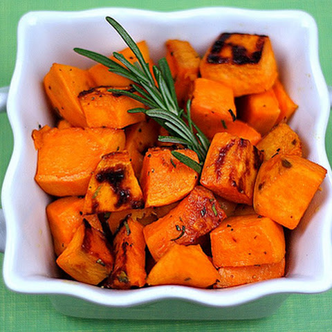 Roasted Sweet Potatoes with Agave Nectar and Fresh Rosemary