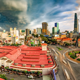 The Storm by Dung Pham - Landscapes Weather ( clouds, building, market, sunset, vietnam, saigon, cityscape, storm, benthanh market )