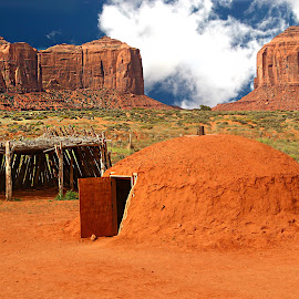 Navajo hogan at Monument valley by Gérard CHATENET - Landscapes Travel