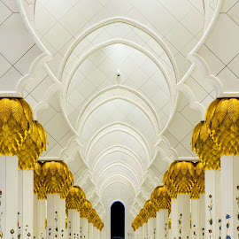 Interior of Sheikh Zayed Mosque  in United Arab Emirates by Péter Mocsonoky - Buildings & Architecture Places of Worship ( muslim, famous, arabic, emirates, interior, marble, detail, arab, arch, decorative, mosque, islamic, columns, zayed, travel, architecture, middle, religion, style, sheikh, abu, grand, ornament, east, element, united, building, decoration, art, white, tourism, dhabi, islam, interiors, background, uae, artistic, pillar, design, culture )