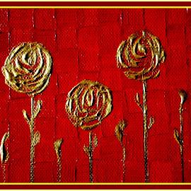 Golden roses by Bernarda Bizjak - Painting All Painting