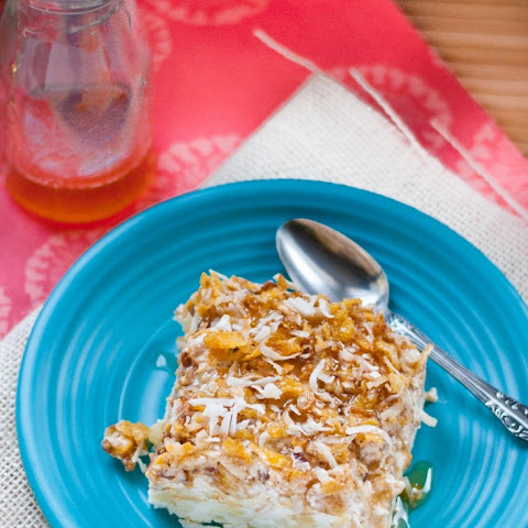 Pina Colada Fried Ice Cream with Honey Rum Drizzle