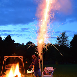 Roman Candle by Thomas Shaw - Abstract Fire & Fireworks ( clouds, flames, sky, roman candle, chairs, fireworks, night, me, fire works, backyard, sparks, fire,  )