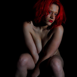 A Lady's Lethal Look by DJ Cockburn - Nudes & Boudoir Boudoir ( speedlight, model, implied nude, sitting, red hair, seated, home shoot, off camera flash, woman, concealed nude, miss v, portrait )