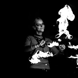 Fire Show by Nicolin Vladimir - Black & White Portraits & People ( white, show, laura, black, fire )
