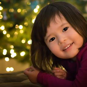 Ready for Christmas by Erika Fisher - Babies & Children Toddlers ( toddler portraits, christmas lights, child portraits, christmas tree, bokeh )
