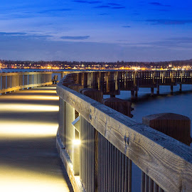 Taylor Dock Night by Jeff Duncan - Buildings & Architecture Bridges & Suspended Structures ( bellingham, waterscape, sunset, taylor, long exposure, bellingham bay, dock, city, city at night, street at night, park at night, nightlife, night life, nighttime in the city )