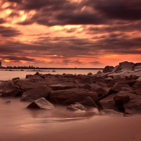 Jerudong Sunset by Rashid Mohamad - Landscapes Sunsets & Sunrises ( sunset, beach, brunei, coastal, slow shutter )
