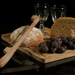 Cheese, bread and fruits by Cristobal Garciaferro Rubio - Food & Drink Ingredients ( glass cups, cups, grapes, bread, cheese )