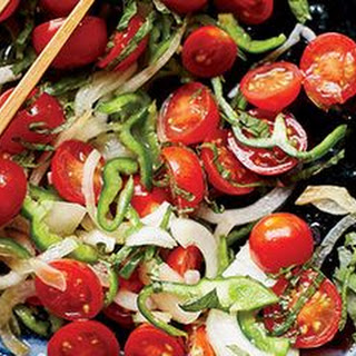 Tomato, Onion, and Green Pepper Salad with Shiso