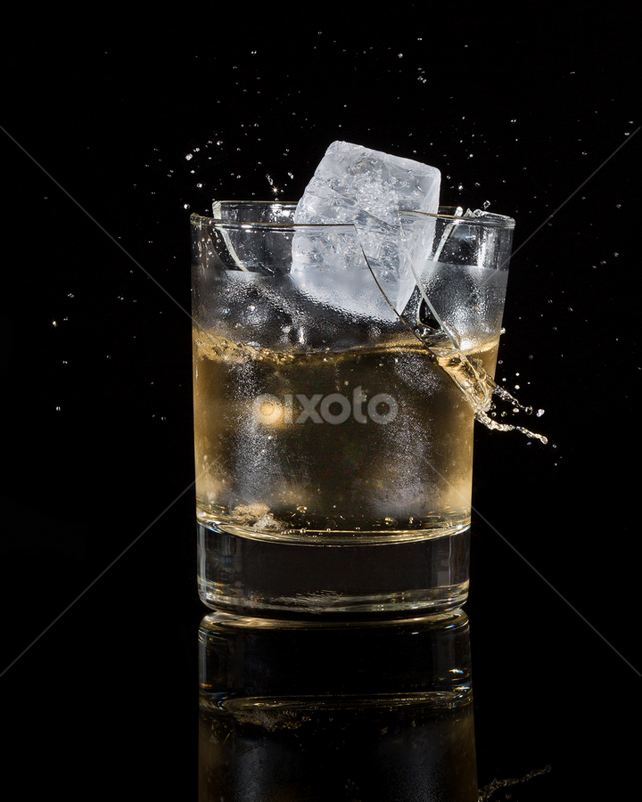 Oops!  by Ellen Yeates - Food & Drink Alcohol & Drinks ( studio, austin, ellen yeates, whiskey, splash, broken glass, drop, whiskey alcohol, high speed, not purose, break, alcohol, ice, drink, glass,  )