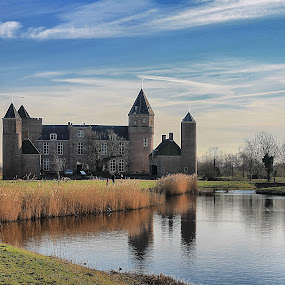 The castle by Ingrid Dendievel - Buildings & Architecture Public & Historical ( reflection, park, castle, netherlands, domburg )