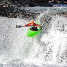 Jumping the Falls by Gregory Cook - Sports & Fitness Watersports ( kayaker, waterfall, river, kayaking )