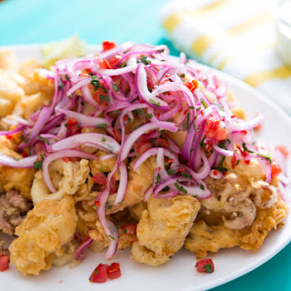 Peruvian Fried Seafood Platter With Lime-Marinated Onion and Tomato Salad (Jalea)
