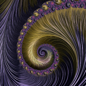 Purple and Gold by Amanda Moore - Illustration Abstract & Patterns ( spirals, fractal art, digital art, spiral, fractal, fractals, digital )