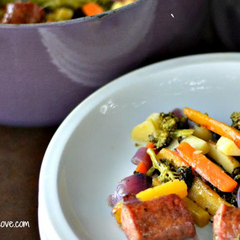 Roasted Vegetables w/ Fresh Herbs & Kielbasa