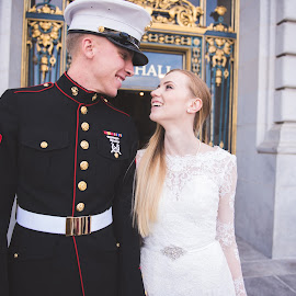 We Do by Brianna Caskey - Wedding Bride & Groom ( city hall, love, marine, wedding, military )