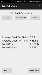 Trip Gasoline Cost Calculator - screenshot