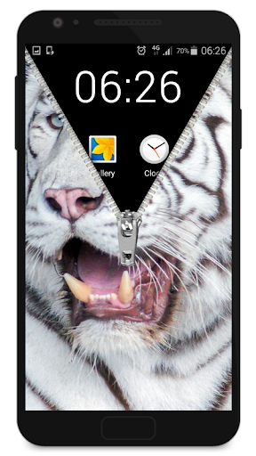 Zipper Lock Screen White Tiger screenshot 3