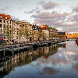 Frederiksholms Kanal Copenhagen Denmark by Gabriela Ciobanu - City,  Street & Park  Neighborhoods ( copenhagen, sunset, reflections, denmark, canal, frederiksholms )