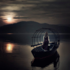 woman on fishing boat by Joana Kruse - People Fine Art ( person, reflection, dream-like, dreamy, italian, wood, garment, landscape, sun, caucasian, anonymous, girl, nature, woman, mediterranean, gown, evening gown, fisher, from behind, italy, shoe, shoes, fisher boat, water, frock, dream, elegance, evening dress, romantic, back, lake, prom, boat, fishing boat, dawn, red, wooden, female, sunset, dress, elegant, outdoors, sunrise, outside )